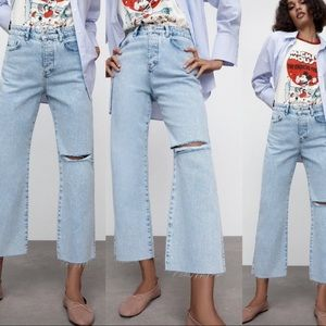 Zara Ripped Straight Leg HR Jean 6